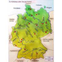 Reliefkarte Flüsse in Deutschland