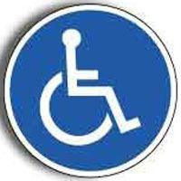Gebotsschild für Rollstuhlfahrer
