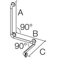 Serie 300 STEEL SG 02, Wandhaltegriff mit Senkrechtstütze / Serie 300 STEEL SG 02, Duschhandlauf einfach / Serie 300 STEEL SG 02, Duschhandlauf doppelt