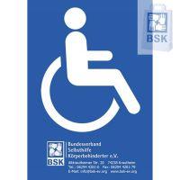 Kunststofftafel mit Rollstuhlsymbol