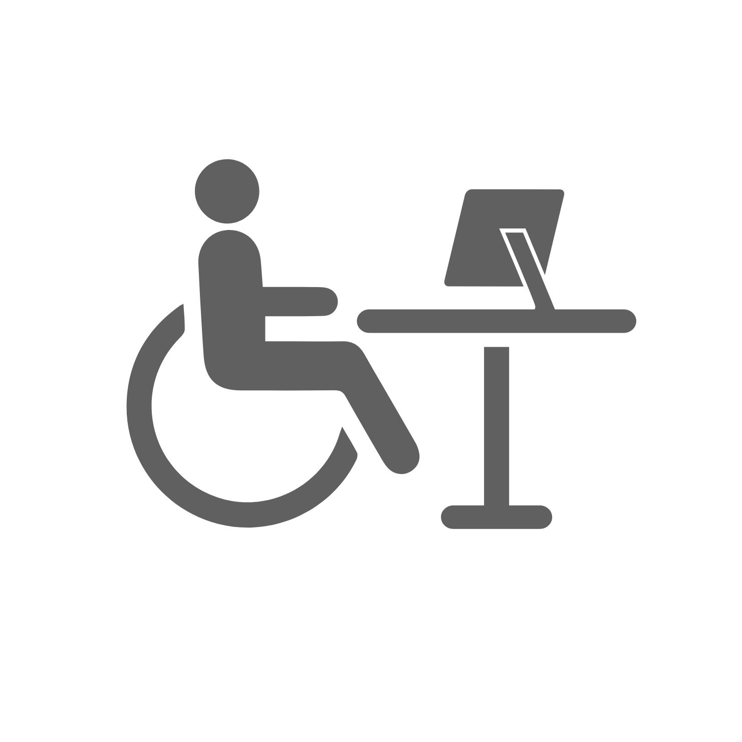 Icon Modellarbeitsplatz Rollstuhlfahrende