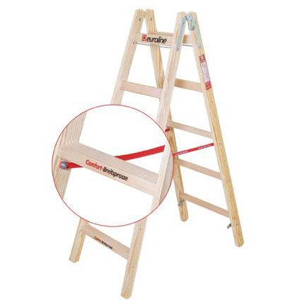 Holz-Sprossenstehleiter mit Breitsprosse