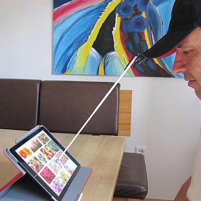iPad Kopfstab Stylus, an der Mütze montiert