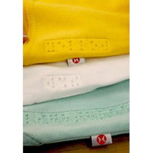 Gestickte Wäschekennzeichnung in Braille-Blindenschrift