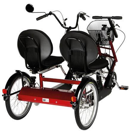 Dreirad-Tandem DUO von hinten
