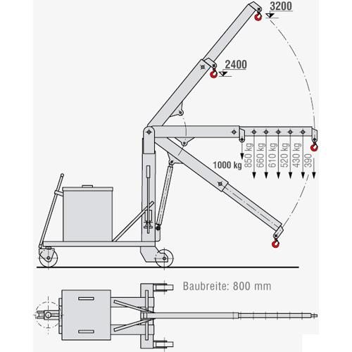 Montagekran KR-F 100 - Zeichnung