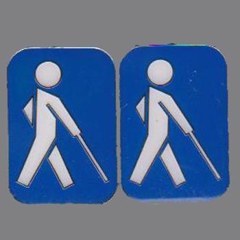Blindenabzeichen / Blindenplakette, blau mit weißem Männchen