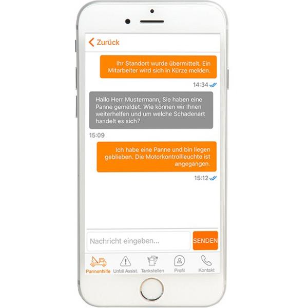 Pannennotruf mit Chatfunktion