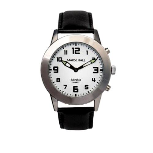 Senso- Armbanduhr silberfarben mit schwarzem Lederband