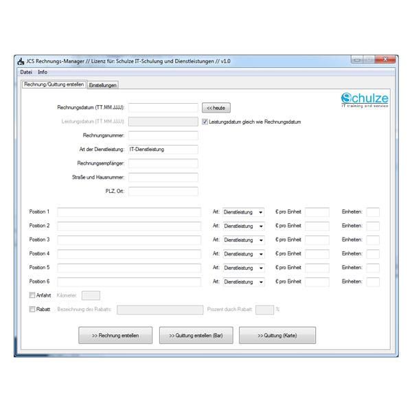 JCS Rechnungs-Manager, Software