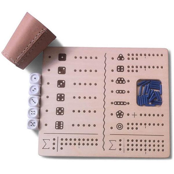 Brettspiel für Blinde Kniffel Set mit Würfel & Becher Taktil
