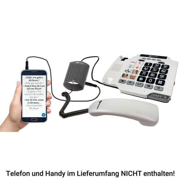 Sprache zu Text Konverter Geemarc V2T-10 mit Telefon und Smartphone