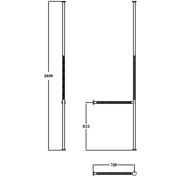 Normbau Boden-Deckenstange mit Holm