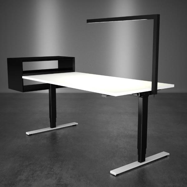 Schreibtisch MASTERLIFT 2 mit Masterbox und Arbeitsplatzleuchte