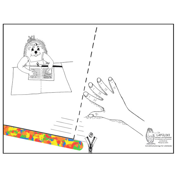 Linkshänder Schreibunterlage für die Schule