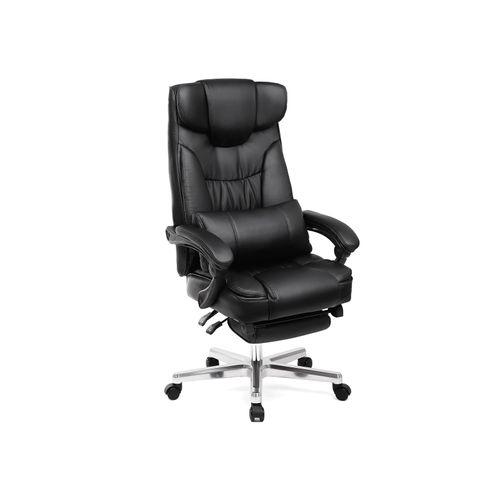 Songmics OBG75B Bürostuhl mit Fußablage, klappbarer Kopfstütze und Lendenkissen
