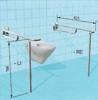 Sicherheits-Stützklappgriff für Toilette mit vorderem Greifbogen, Arretierung und Bodenstütze