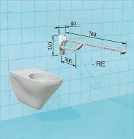 Sicherheits-WC-Stützklappgriff mit vorderem Greifbogen und Hebelarretierung