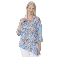 Ulla Stilvolles Damen Pflege Shirt Tunika Paisley